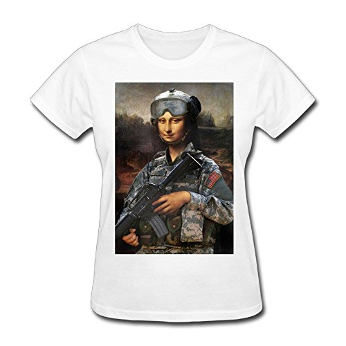 Military Girl Military Humor Mona Lisa Womens White Tee Shirt Size M Sport