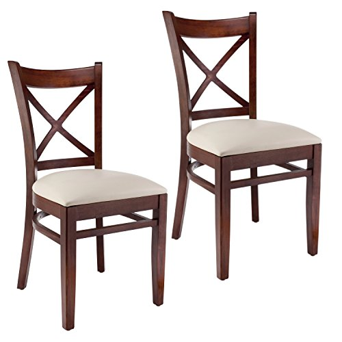 Beechwood Mountain BSD-106S-MO Solid Beech Wood Side Chairs in Medium Oak for Kitchen and dining, set of 2