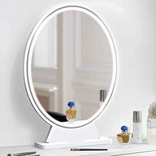 Large Vanity Makeup MirrorLightsSmart Remote Control HD Lighted Mirror3 Colors Adjustable Brightness Detachable Tabletop Mirror (White)