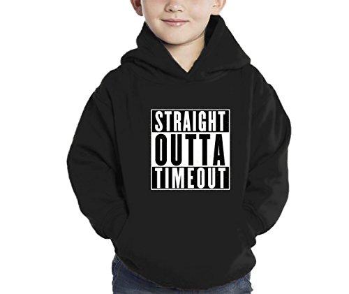 HAASE UNLIMITED Straight Outta Timeout Hoodie Sweatshirt (Black, (Out Kids Sweatshirt)