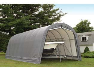 ShelterLogic 12-Ft.W Round-Style Instant Garage – 28ft.L x 12ft.W x 10ft.H, 1 5/8in. Frame, Grey, Model# 902233, Outdoor Stuffs