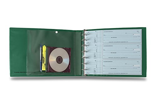 7 Ring 3 on a Page Check Book Binder with GREEN cover By Starbinders Green