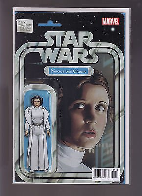 Marvel Star Wars #1 Exclusive Comic Book with Princess Leia Action Figure Color Variant Cover Art by John Tyler Christopher