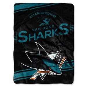 The Northwest Company NHL San Jose Sharks Stamp Plush Raschel Blanket, Blue, 60 x 80-Inch