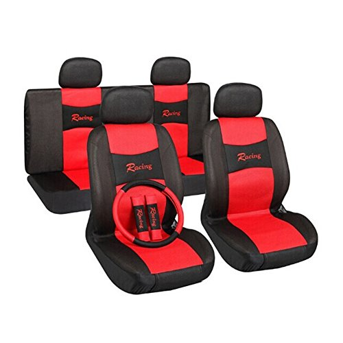 red and blue seat covers car - 7