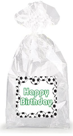 Green Soccer Happy Birthday Party Favor Bags with Ties - 12p