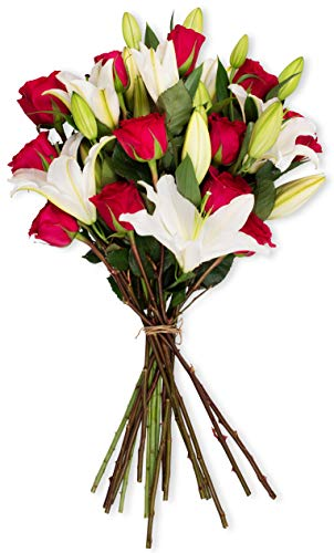 Benchmark Bouquets Hot Pink Roses and White Oriental Lilies, No Vase (Fresh Cut Flowers)