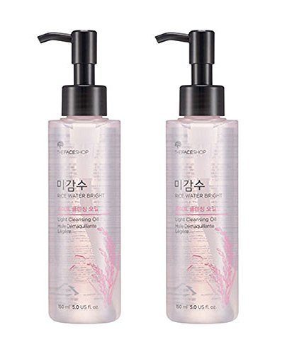 [THEFACESHOP] Facial Cleanser, Natural Rice Water Light Cleansing Oil Moisturizer for Dry or Oily Skin - 150 mL / 5 Oz (2 Count)