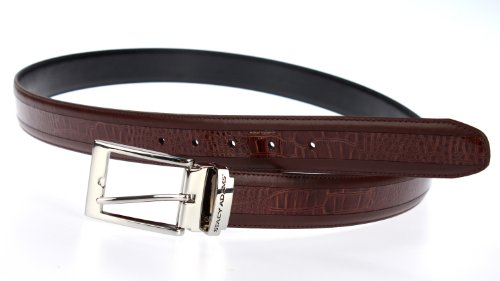 Stacy Adams 6-203 Smooth Grain Leather with Croco Embossed Center Detail Mens Adjustable Belt, Polished Nickel Buckle (Cognac) ()