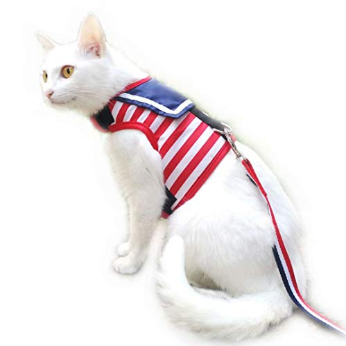 - Yizhi Miaow Escape Proof Cat Harness with Leash Medium, Adjustable Cat Walking Jackets, Padded Cat Vest Sailor Suit Red