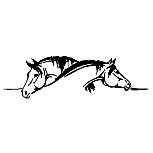 DECAL-STYLE- Creative Two Horses Graphical Car Sticker And Decal Funny Animal Car Styling (26x7.5CM) (Black)