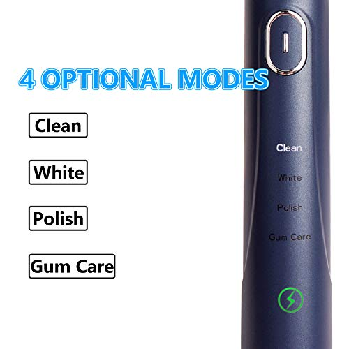 NAWCUP New Sonic Electric Toothbrush, Adult Electric Toothbrush, Smart Electric Toothbrush has 4 Modes, IPX7 Whitening Electric Toothbrush, Including USB Charging and 2 Replaceable Brush Heads
