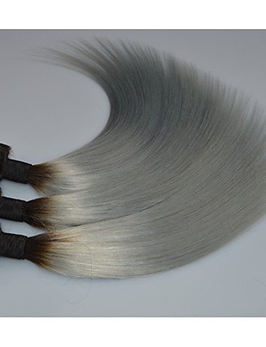 Profondes Foncé Cheveux Droites 3pcs JffBrésiliennes Tissent De Faisceaux Extensions D'argent 3pcsLot Ombre Brésiliens 16 Gris 18 PnOwk0