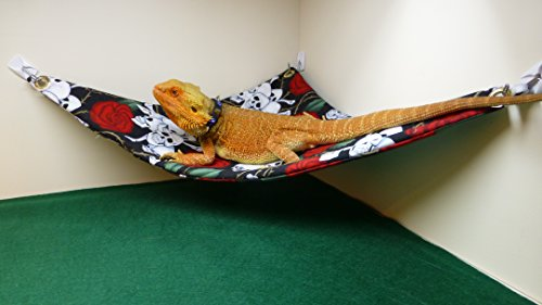 Hammock for Bearded Dragons, Skulls and Roses fabric with suction cup hooks by Carolina Designer Dragons