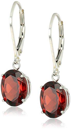 (Sterling Silver Oval Gemstone Dangle Earrings)