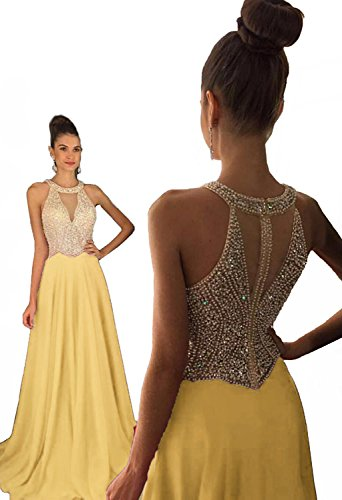 Fanciest Women's Crystal Beaded Prom Dresses 2018 Long Evening Gowns Formal Light Yellow US2
