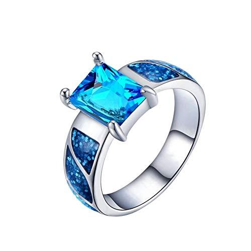 - Greendou Fashion Victoria Jewelry Amazing Shiny Huge Fire Blue Opal Ocean Blue Topaz Silver Rings Size 6-10 (8)