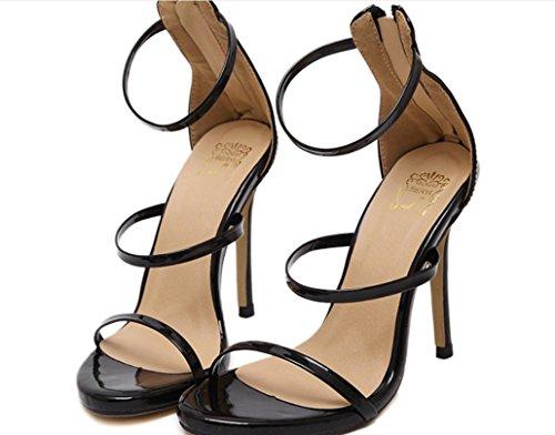 Scarpe YCMDM donne romane dei sandali tacco alto Oro Argento nero nudo 39 36 35 38 40 37 , black , 38