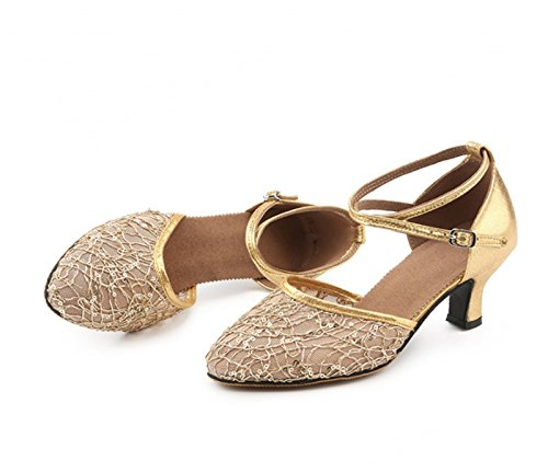 Dance Shoes with Ballroom Golden Latin ShoesSquare Ruanlei bottom Prom Shoes breathable soft dance mesh EwtqxdgF