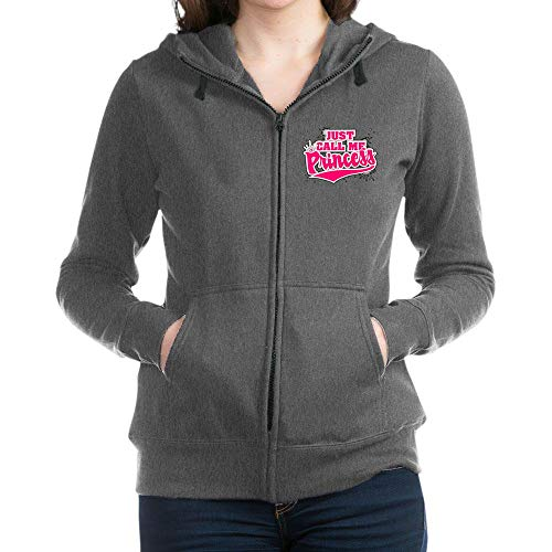 Royal Lion Women's Zip Hoodie (Dark) Just Call Me Princess with Crown - Charcoal Heather, XL