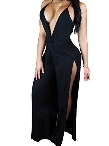 YFFaye Women's Twist Abdomen Backless Thigh High Slit Party Jumpsuit Black L
