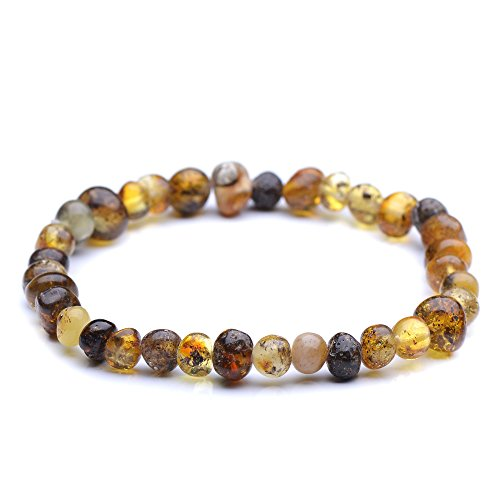 Polished Genuine Baltic Amber Bracelet for Adult - Choose your color and choose your size! - 3 sizes and 10 different colors - 100% Authentic Baltic Amber (7.8 inches, green)
