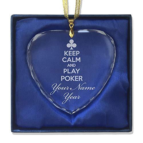 SkunkWerkz Christmas Ornament, Keep Calm Play Poker, Personalized Engraving Included (Heart Shape) by SkunkWerkz