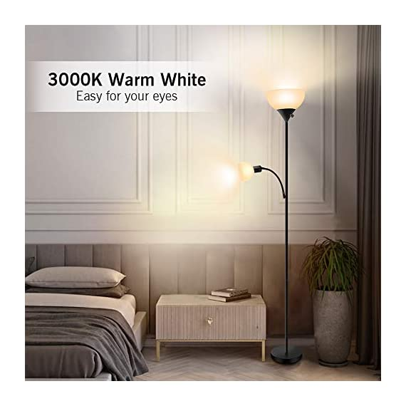 Floor Lamp - Standing Lamp, 9W+4W Energy Saving LED Bulbs, Torch Lamp with Adjustable Reading Lamp, 3000K Warm White, LED Floor Lamps for Bedroom, Living Room, Office, Working, Reading - ✔ ENERGY-SAVING LED BULBS - Adopting 2 LED Bulbs, this floor lamp consume very low amounts of power, which makes it more environment friendly. When comparing with traditional lighting solutions, this LED floor lamp has longer lifespan that will last 40,000 hours, which means lower maintenance costs and lower replacement cost, saving your time and money in a long term. ✔ ADJUSTABLE READING LAMP - Except for a 9-watt main lamp, there is also a 4-watt side lamp with gooseneck. The side lamp can be adjusted Into different angles, which is perfect for reading or working. Also, you don't have to worry about your eyes because this floor lamp emits 3000K warm white, which is very easy for eyes. With three choices of the rotary switch, you can choose Main Lamp On, Side Lamp On, or Both On according to your needs. ✔ EASY TO ASSEMBLE & MOVE - The assembly of this floor lamp is super easy, following the instruction, you can install it with no need for additional tools or parts. Due to its simple design, this floor light can be carried and moved easily, perfect for living room, bedroom or office. PS: the cord will be a little bit longer, but that's not defective, you will assemble it perfectly just following the steps. If you have any problem, please contact us, we'd like to help you out. - living-room-decor, living-room, floor-lamps - 41Ze VtcyHL. SS570  -