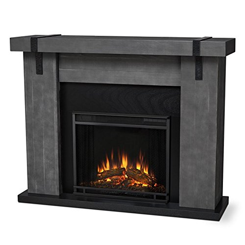 (Real Flame Aspen Electric Fireplace Barn Wood Grey)