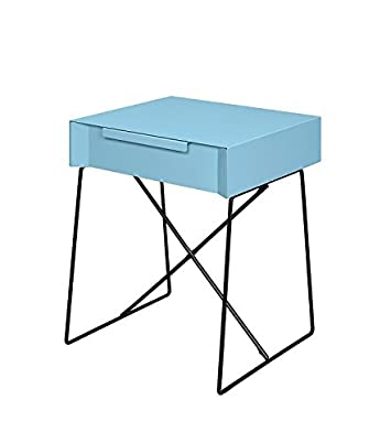 Major-Q Retro Styled Side Table with Metal Base for Bedroom Living Room Game Room, Light Blue Finish 18 x 15 x 22