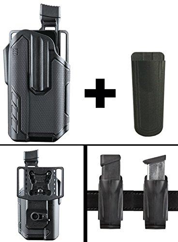 Black Semi Finish 9mm Automatic (Ultimate Arms Gear BlackHawk Omnivore Level 2 Active Retention Surefire X300 X-300/X300U-A Light Pistol Gun Right Holster Fits Springfield XD-45 FULL SIZE.45 ACP, 5 Magazine Holder, Black)