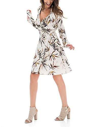 Salsa Kleid, Overcross-Optik, mit Blätter Print Beige