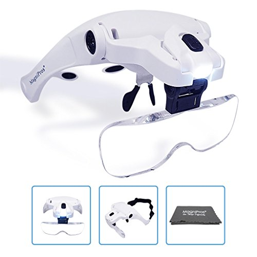 MagniPros LED Illuminated Headband Magnifier Visor with Bonus Cleaning Cloth and 5 Detachable Lenses 1X, 1.5X, 2X, 2.5X 3.5X - (Upgraded Version) Hands-Free Head Worn Lighted Magnifying ()
