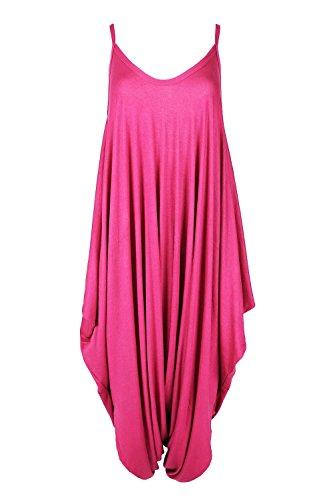 Oops Outlet Women's Thin Strap Lagenlook Romper Baggy Harem Jumpsuit Playsuit M/L (US 8/10) Cerise