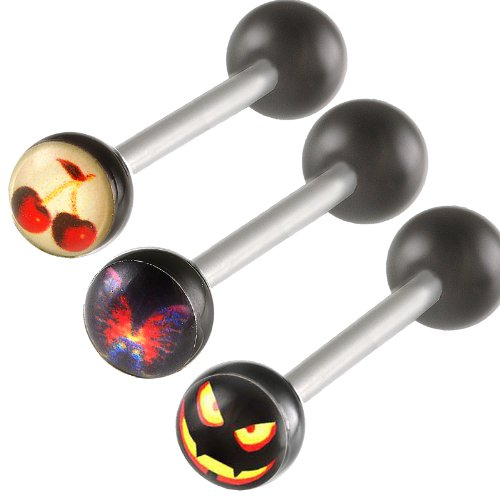 3Pcs 14g 14 gauge 1.6mm 16mm steel tongue rings straight barbell ball piercing bars tounge Jewelry BABK