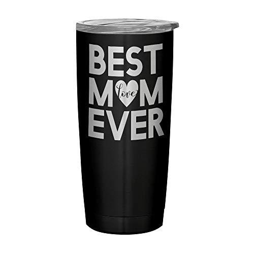 Inspired Silver - Best Mom Coffee Mug - Engraved Stainless Steel Travel Mug - Best Mum Gift Tumbler - Best Mom Coffee Travel Mug - Mothers Day Gift And Birthday Gifts For Mom - 20 oz (Black)