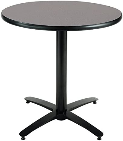 KFI Seating Round Pedestal Table with Arched X Base, Commercial Grade, 30-Inch, Graphite Nebula Laminate, Made in the USA