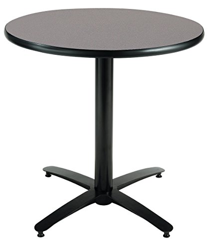 KFI Seating Round Pedestal Table with Arched X Base, Commercial Grade, 36-Inch, Graphite Nebula Laminate, Made in the USA