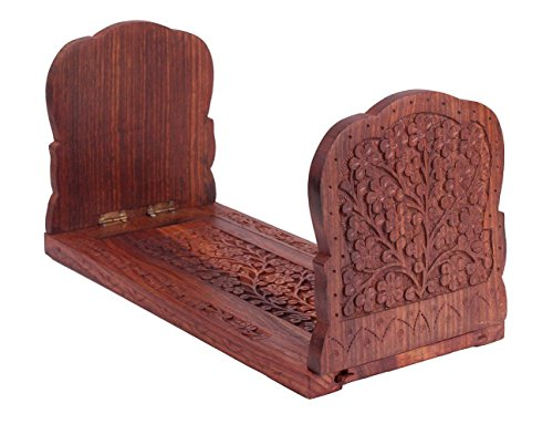 Expandable & Foldable Rosewood Book or CD Stand Rack Holder with Intricate Floral Carvings, 13 x 5 x 6.5 Inches