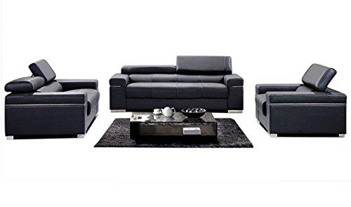 (J&M Furniture Soho 3-Piece Leather Living Room Set in Black)
