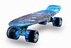 """Fully Assembled Complete Board                       Easy and Ready to Ride!                       Who can play the Skateboard?              Only weighed 3.8lbs and measured inch 22""""x6'' , plastic cruiser is built with a c..."""