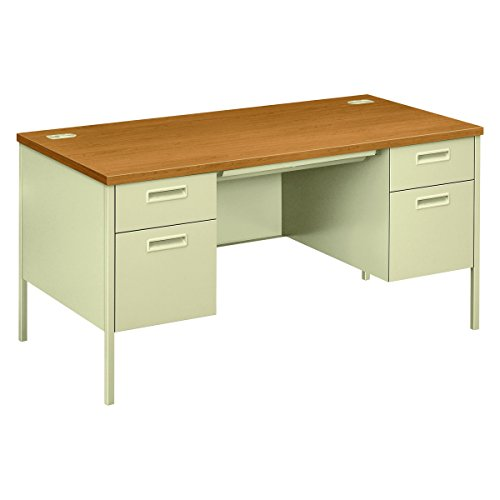 HON Metro Classic Double Pedestal Desk with 2 Box/2 File Drawers and Putty Finish, 60