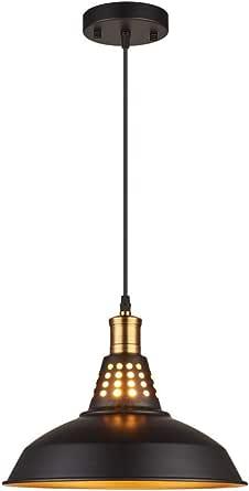 Amabao Lighting, 1 Light, Matte Black Metal Industrial Barn Kitchen Island Pendant Light Fixture, E26 7W LED Bulb Not Included