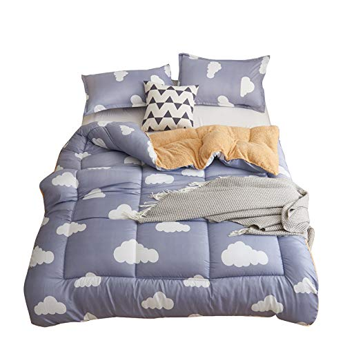 Twin Cloud Comforter Fleece - KFZ Sherpa Flaneece Blanket Berber Throw Fleece Comforter HDD1808 Twin Quilt 60