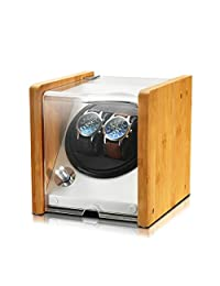 OLYMBROS Bamboo Double Automatic Watch Winder Box AC or Battery Powered with Super Quiet Japanese Motor for 2 Watches