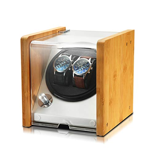 OLYMBROS Bamboo Double Automatic Watch Winder Box with Super Quiet Japanese Motor for 2 Watches