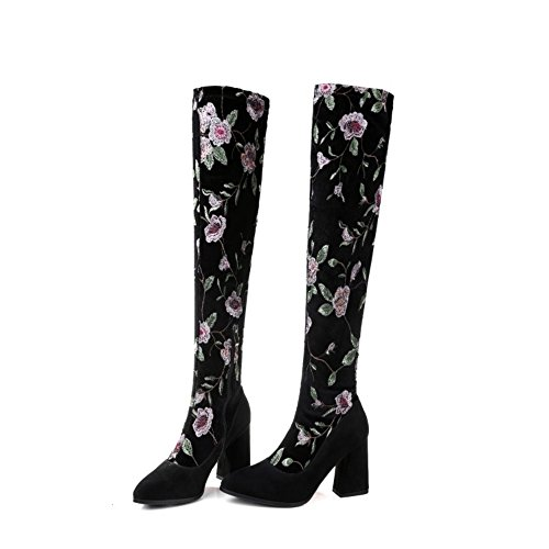 Shoes Round US Thigh Wedge Emboridery Boots 8 Suede jinfu Toe High Womens Knee High Stretch Anq7p