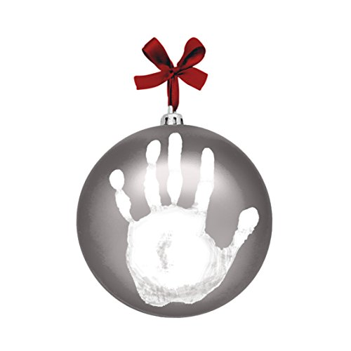 Tiny Ideas Baby's Print Holiday Keepsake Ball Ornament with Included Paint for Handprint, Silver