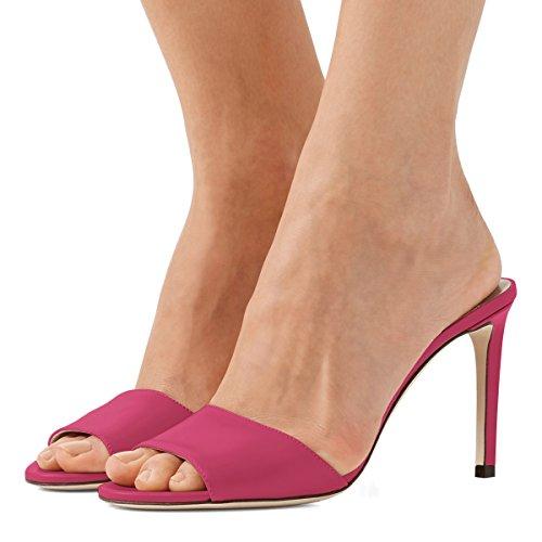 Party Peep 4 Toe High Women Size Stiletto US Mule Evening 15 Casual Fuchsia Shoes Sandals FSJ Heels EqzOBxx