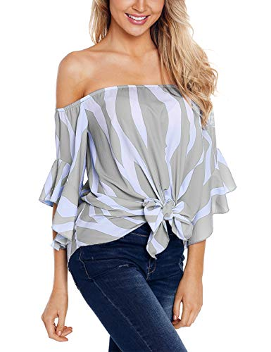 (RSM &CHENG Women's Striped Off Shoulder Bell Sleeve Shirt Tie Knot Casual Blouses Tops(Stripe Grey,S))